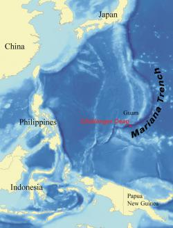 Location of Cameron's deep dive: Challenger Deep is about 300 miles southwest of Guam.