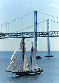 Old and new: Here's another cool Chesapeake Bay Bridge photo that gives a better scale of the incredible height of the bridge. (Photos from Maryland Transportation Authority)