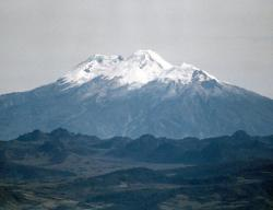 Nevado del Huila: Huila, the highest active volcano in Colombia, is a stratovolcano constructed inside an old caldera. The volcano is seen here from the SW.