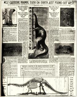 Early dinosaur hyperbole: New York newspaper from December, 1898