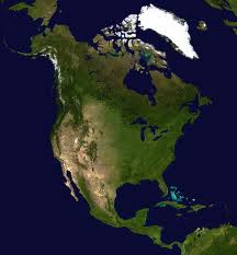 A composed satellite photograph of North America in orthographic projection.