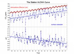 Decreasing Ocean pH (meaning Increasing Acidity) Correlates with Increasing Carbon Dioxide