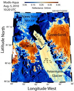 Petermann Glacier ice island: Map supplied by Andreas Muenchow.