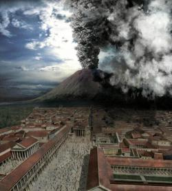 Thing of the past?: New studies show that the likelihood of a major eruption of Mount Vesuvius, like this computer image of the infamous blast of 79 A.D., are decreasing.