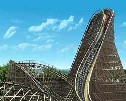 Twist and shout: Renegade's first drop falls 91 feet and does a 90-degree twist to boot. (Image courtesy of Valleyfair)