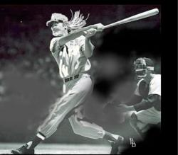 PROF TAKES ONE DEEP: A painting of the author hitting a home run from league photo files.