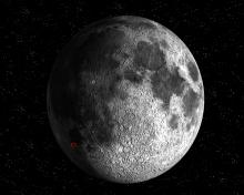 The impact site.: This artist's impression shows the location of the SMART-1 impact on the Moon surface, expected for 3 September 2006 at 05:41 UT, with an uncertainty of plus or minus 7 hours, due to the unknown lunar topography.  The impact site will be on the lunar area