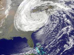 Sandy seen from space: This satellite photo shows the enormity of Sandy as she slammed into the east coast of the United States.