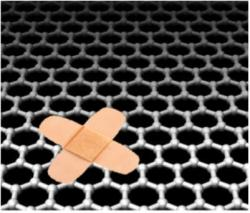 Graphene uses loose carbon atoms to re-knit its damaged structure.