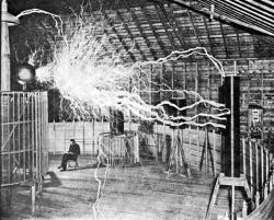 Tesla in his element: Typical promotional photo of the inventor