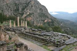 The Temple of Apollo at Delphi with Mount Parnassus in the Background