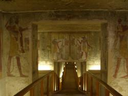 Walk to an Egyptian Pharaoh: This tunnel through another pharaoh's tomb in the Valley of the Kings gives an idea of the elaborate wall art that adorns such structures.