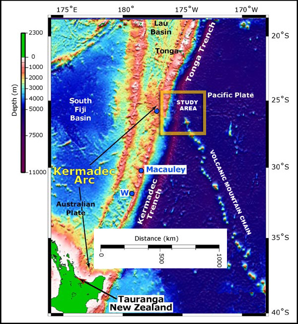 Mountains moving under the Pacific Ocean consumed by subduction zone