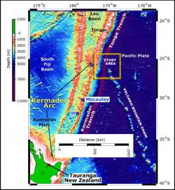 Sonar study location along the Tonga Trench