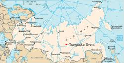 Map showing Tunguska event location: Image source: Public Domain