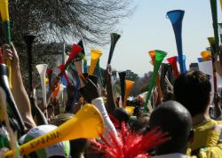 Vuvuzelas: Fans raise their vuvuzelas in celebration of soccer season