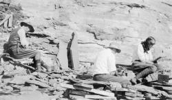 Burgess Shale quarry c. 1913: Charles D. Walcott (L) often worked the quarry with family members. Here he's seen with his wife, Helen (far right) and their son, Sidney.