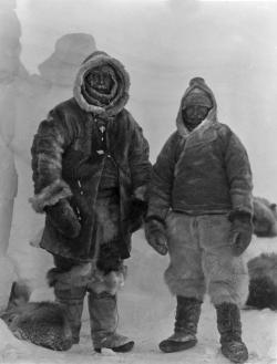 Alfred Wegener in Greenland, November 1, 1930: This last known photograph of Alfred Wegener (left) was taken on his 50th birthday, not long before his death. Fellow explorer Rasmus Villumsen is seen on right.