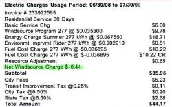 Electricity from wind was cheaper: I saved 44 cents on my July electric bill because 100 per cent of my electricity is from wind power.