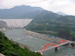 Zipingpu Dam: Upriver from the town of Dujiangyan, Sichuan, China.