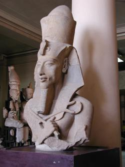 King or queen of Egypt: This statue depicts Akhenaten, a pharaoh of Egypt  who some believe suffered a rare genetic disease that gave him a very feminine appearance.