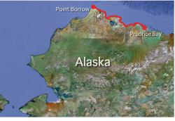 Affected coastline: Alaska's endangered coast, with Beaufort Sea to the North.