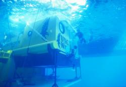 Underwater mobile home: Aquarius is the underwater home for researchers for their current nine-day mission off the coast of Florida. The tube is about the same size as a school bus.
