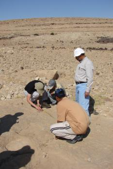 Researchers take tracksite measurements