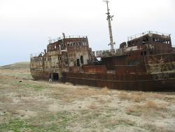 An abandoned fishing ship: On the former sea floor.