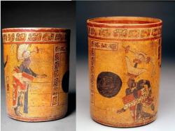 Key clue: Heiroglyphs and art on this pot helped researchers figure out that instant replay was a key part of Maya ball game officiating.