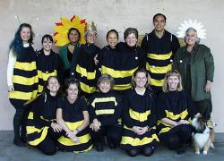 Some bees: Each and every one of them thinking about doing unspeakable things to that dog.