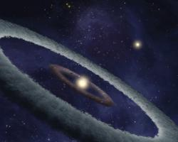 Birth of a planet in a binary star system: Could such a star system throw a planet into retrograde orbit?