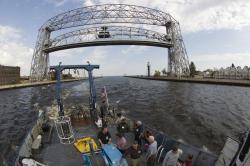 Return to harbor: The Blue Heron heads back to port after passing under Duluth's landmark Aerial-Lift Bridge.