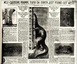 Wild newspaper depiction of brontosaurus c. 1890