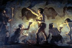 Cave painting by Charles R. Knight: Evidently fossil artwork goes way back.