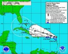 Tropical storm Chris: The 5-day forecast track, issued on August 1, 2006 (NOAA/NHC image)