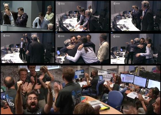 10 years of anticipation followed by moments of exhiliration!: Scientists at ESA mission control celebrate the successful landing of Philae on the comet 67p/Churyumov-Gerasimenko.