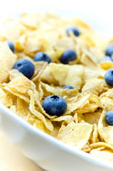 Corn Flake Cereal with Blueberries