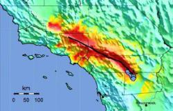 ShakeOut Map: A representation of the shaking produced by the ShakeOut Scenario earthquake. The warmer colors represent the areas of greater damage.