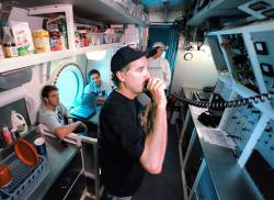 Crew quarters: Inside Aquarius, scientists can watch what their partners are doing out on the ocean floor. And we can watch what they're doing through Internet connections. (Photos from www.uncw.edu/nurc/aquarius)