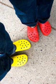 Crocs: Bright, definitely.  But dangerous?  Image courtesy roland via Flickr.