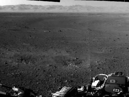 Curiosity's new neighborhood: The first full-resolution photos of Curiosity's surroundings on the Martian surface. The rim of Gale Crater make up the mountains in the distance.