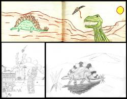 Some of my dinosaur drawings from c. 1963: I was obviously partial to Stegosaurus although I seemed to be limited to a side view.