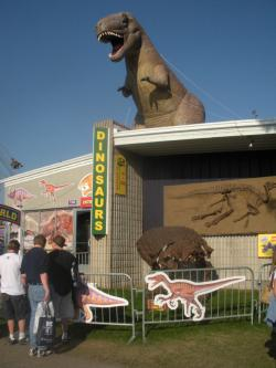 Paleontology: Dinosaur World is a new exhibit at the fair this year. Inside are skeletons, fossils, and information about dinosaurs and other prehistoric life.