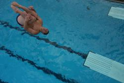Cleared for take-off: Flips like this off of a diving board are the top-rated cause of injuries suffered while diving.