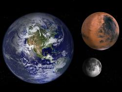Earth, Moon and Mars: Size to scale, distance... not so much.