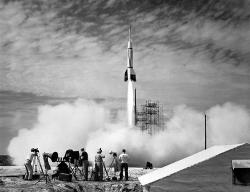Up, up, and away!: No tourists or even astronauts were riding in this first rocket launched from Cape Canaveral back in 1950, but things have changed a lot since then.
