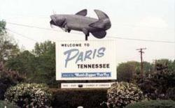 Another record holder: Sign touting Paris, Tennessee, as the 'Home of the World's Biggest Fish Fry
