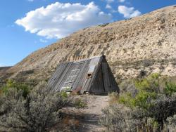 Abandoned workers' shelter: Historic Quarry at Fossil Butte National Monument.