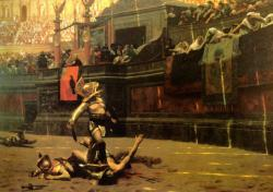 Tough times for the losing gladiators: Pollice Verso. 1872 gladiator painting by Jean-Leon Gerome. Public domain image from Wikimedia Commons.